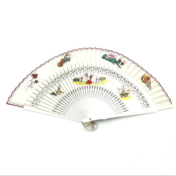 Vintage Other - Vintage Painted Spanish Theme Folding Hand Fan